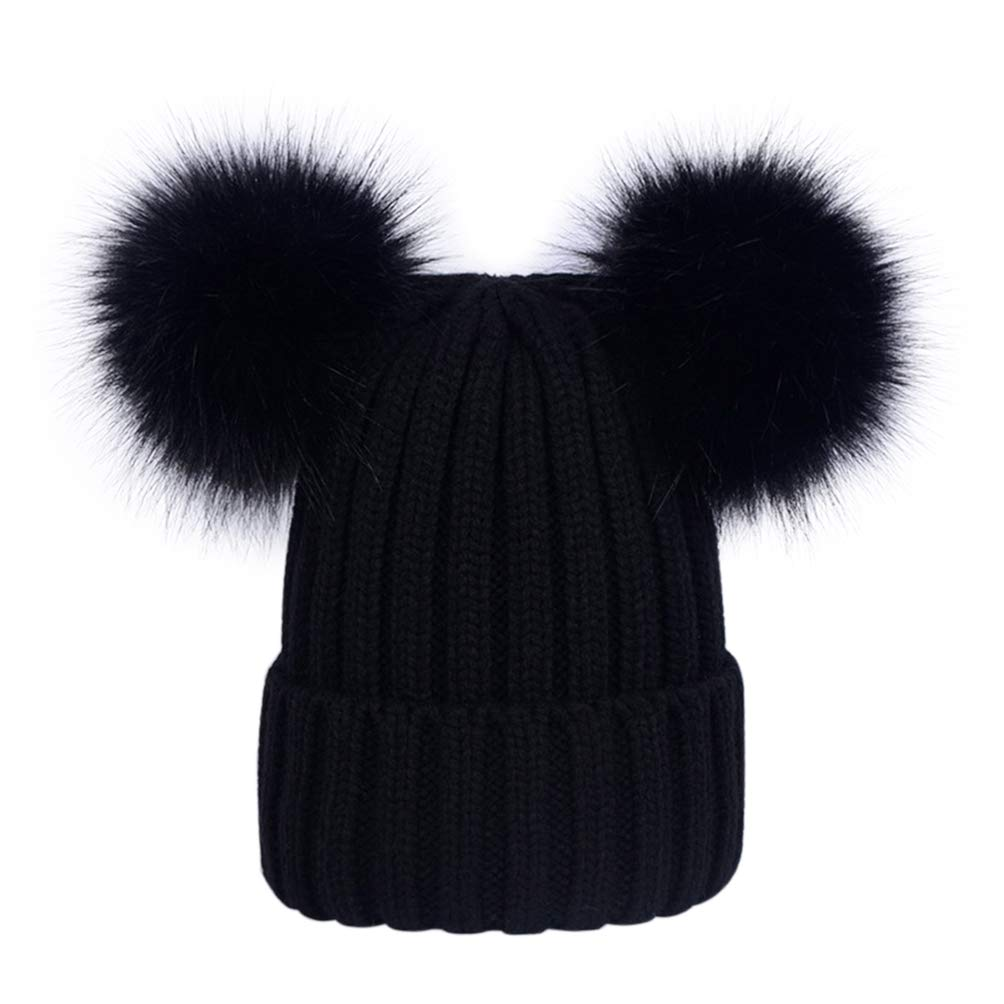 1d12425f9f5 Amazon.com  Lau s Kid Boys Girls Beanie Bobble Hat Knit Winter Hats with 2  pom poms Black  Clothing