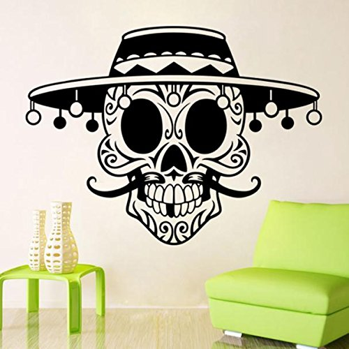 Hibro Clearance,Home Wall Art Decor,Halloween Skeleton Background Decorated Living Room Bedroom Wall Stickers (black)]()
