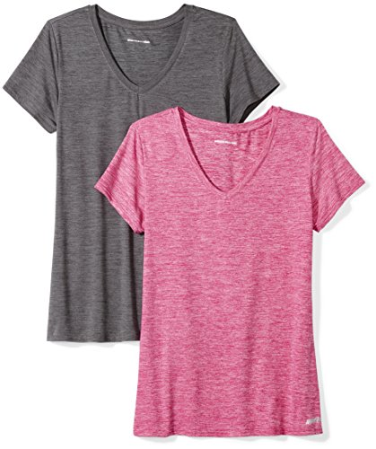 Amazon Essentials Women's 2-Pack Tech Stretch Short-Sleeve V-Neck T-Shirt, Charcoal Radiant Raspberry Heather, Small (Best Running Clothes Brands)