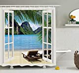 KANATSIU Palm Tree Seascape Sunbeds Balcony Summer Scene Tropical Island Shower Curtain,with 12 Plactic Hooks,100% Made of Polyester,Mildew Resistant & Machine Washable,Width x Height is 60x72