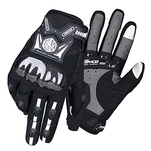 SCOYCO Touch Screen Carbon Fiber Knuckle Reinforced Waterproof Breathable Warm Fall Motorcycle Gloves(BLACK,XL)