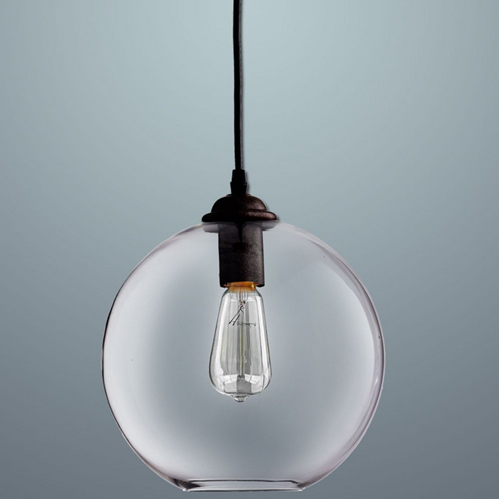 NEW MODERN VINTAGE INDUSTRIAL RETRO LOFT GLASS CEILING ROUND SHADE ...