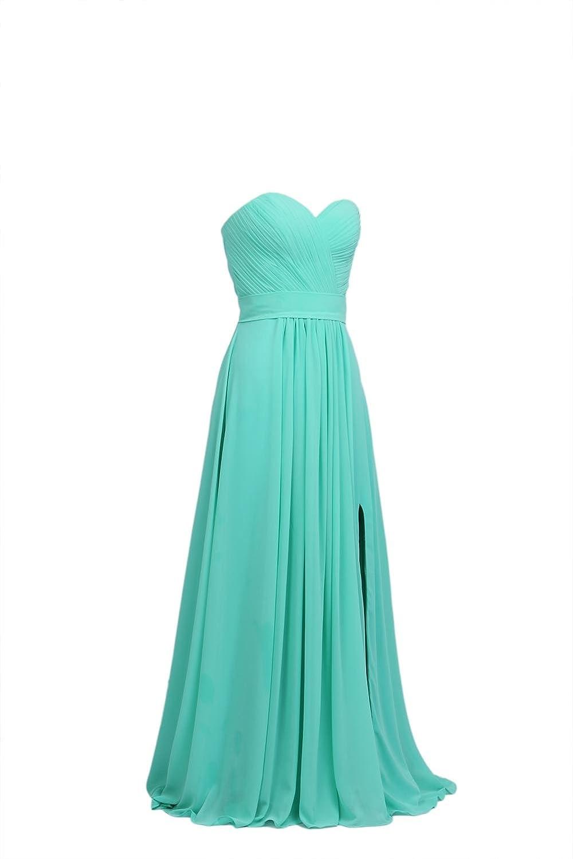 YiYaDawn Women's Long Chiffon Bridesmaid Formald Evening Dress with Side Split