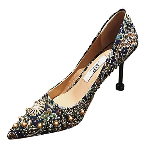 Respctful✿Women Heels Fashion Snake Print PoinToe High Heel Dress Pumps Shoes Ladies Sexy Cocktail Dress Shoe Blue ()