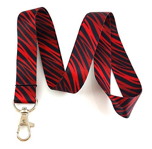 Red Zebra Animal Print Lanyard Key Chain Id Badge Holder (Animal Print Key Chain)