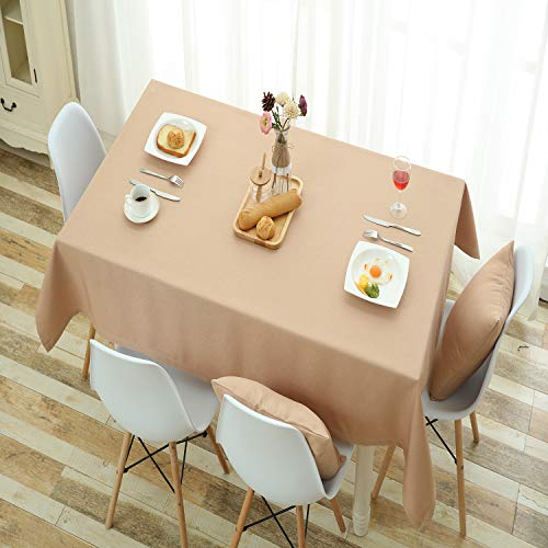 Ecru Linen Fabric - HSYLYM Tablecloth Cotton Linen Fabric Rectangle Durable Patio Table Cover Ideal for Birthday Party,Wedding,Banquet,Ecru,52x95in(132x240cm)