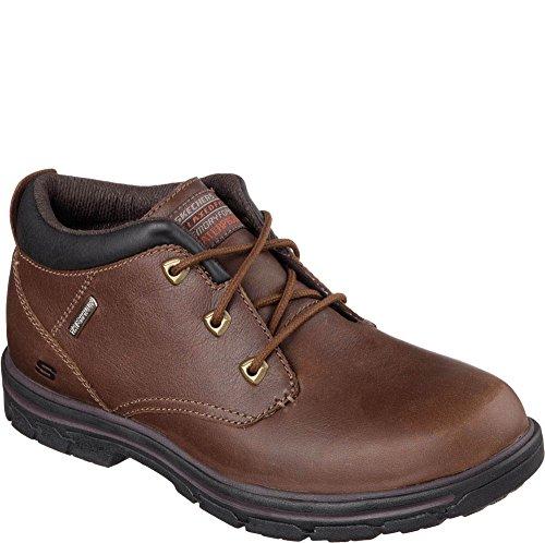 SKECHERS USA Segmento Verzani Relajado Bota impermeable Fit Red/Brown Leather
