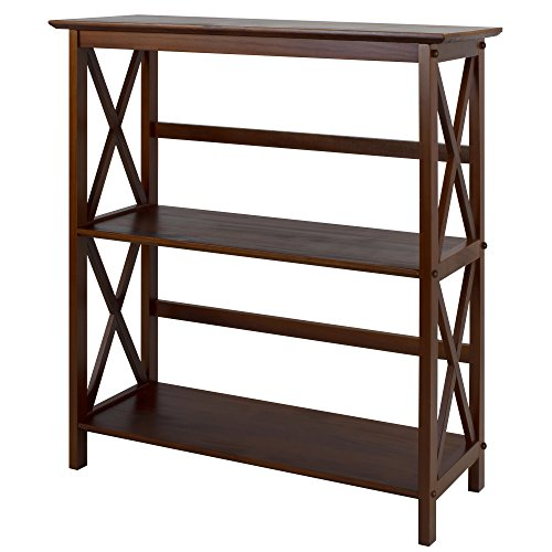 Casual Home 324-34 Montego Style 3-Shelf Bookcase-Walnut (Solid Walnut Legs)