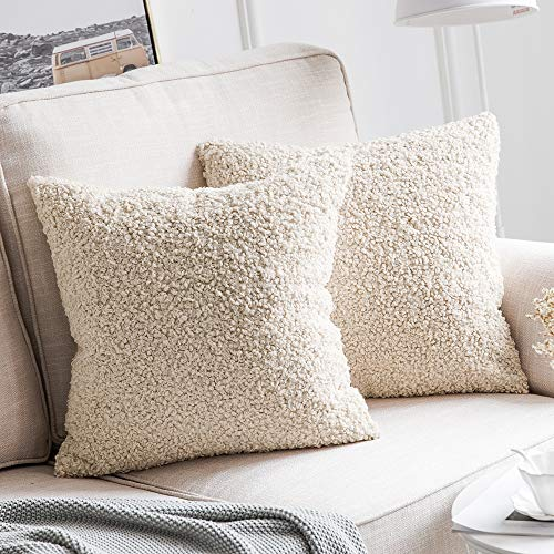 MIULEE Pack of 2 Decorative New Luxury Series Style Cream White Faux Fur...