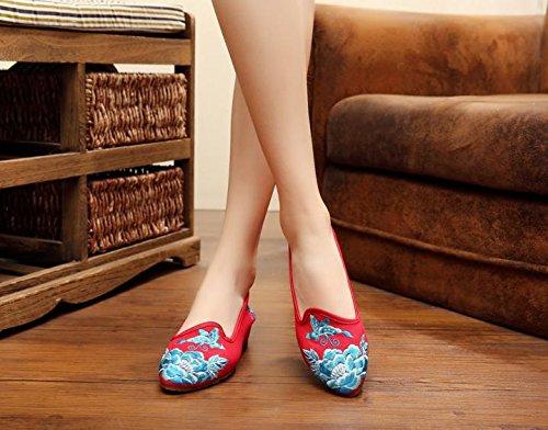Tendina All'interno Moda Ming Casual Etnico Suola Red Stile Ricamate Dell'aumento Da Scarpe A Donna Comodo 71WwqgI1