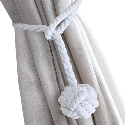 (Deuca 4 Pack Curtain Tiebacks, Handmade Natural Cotton Rope and Round Finial Drapery Tie Bakes, Decorative Holdbacks Holders for Window Sheer and Blackout Panels (White))