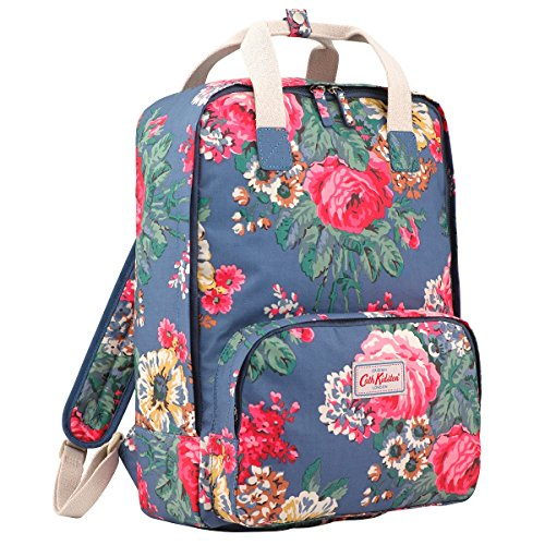 "Cath Kidston Matt Oilcloth Backpack Rucksacks Bloomsbury Bouquet Blue Fitting 13"" Laptop"