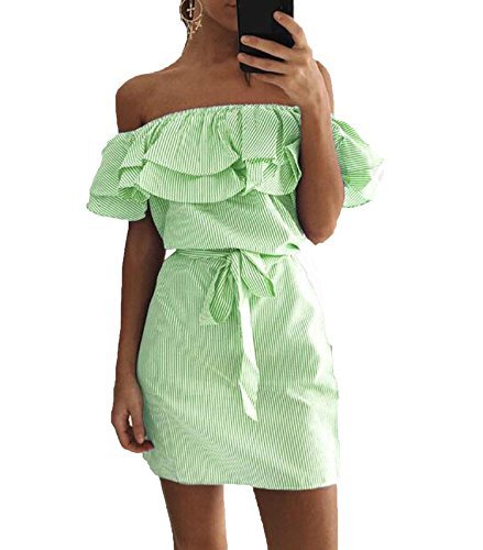 Lovely-Shop Sexy Slash Neck Party Dresses Ruffles Beach Dress Boho Women Striped Sundress Plus Size,Light ()