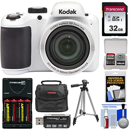 KODAK PIXPRO AZ401 Astro Zoom Digital Camera (White) with 32GB Card + Batteries & Charger + Case + Tripod + Kit
