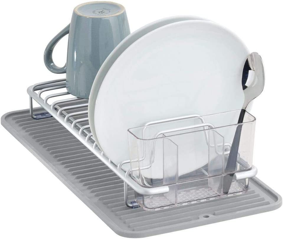 mDesign Compact Kitchen Countertop, Sink Dish Drying Rack and Silicone Drying Mat with Cutlery Caddy - Drain and Dry Wine Glasses, Bowls and Dishes - Set of 2 - Gray/Clear