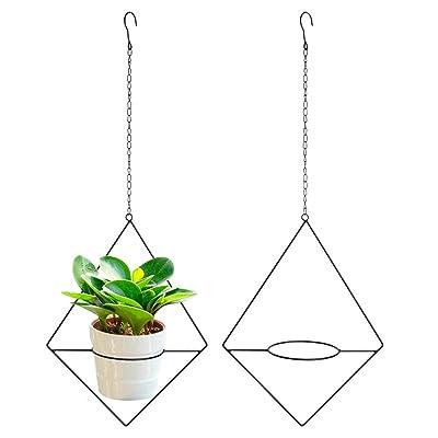 Vencer 2Pack Metal Flower Pot Holder Plant Hanger Modern Rhombic Hanging Planter, Black, VF-0132B : Garden & Outdoor