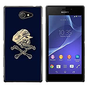 Paccase / SLIM PC / Aliminium Casa Carcasa Funda Case Cover - Skull Captain Crossbones Blue White - Sony Xperia M2
