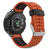Garmin Forerunner 235 Watch Band, MoKo Soft Silicone Replacement Watch Band for Garmin Forerunner 235 / 220 / 230 / 620 / 630 / 735 Smart Watch - ORANGE & BLACK