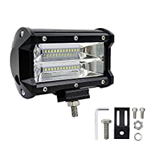 XGODY Leds Pods Flood Light 1pcs 5 Inch 72W LED Work Light Bar Flood Waterproof IP67 Driving Fog Light LED Off Road Lighting for Truck, Automotive, SUV, ATV, UTV, Jeep, Marine, Boat Lamp