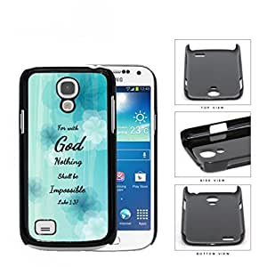 Luke 1:37 Bible Verse Light Blue Pastel Background with White/Blue Flowers Samsung i9190 Galaxy S4 (MINI) Hard Snap on Plastic Cell Phone Case Cover