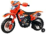 Ride On Motorcycles Extreme Rider Dirt Bike Children's Kid's Battery Operated Rechargeable w/ Removable Training Wheels, Ages 3 - 8 (Orange)