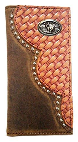 Custom Buckskin Color Busk Deer Basket Weave Long Leather Checkbook Wallet. Proudly MADE IN THE -