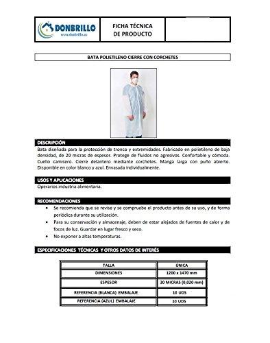 22903-Bata protección médica desechable para: clínicas - laboratorios - esteticien - alimentación - dentistas - veterinarios - enfermerías - Pack 10 Ud. ...
