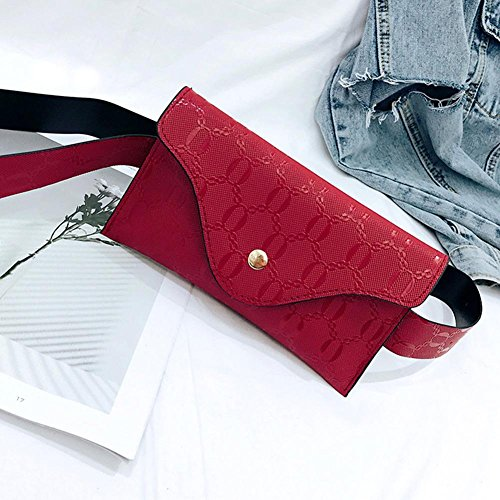 Women Widewing Waist Chest Red Leather PU Fanny Phone Black Pack Coin Belt Purse Handbag Aqdqgrw