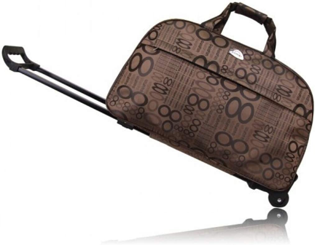 Minmin-lgx Luggage 20 Inch Rolling Duffle Trolley Bag Travel Tote Carry-On Gray Grid Color : F