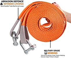 Tow Rope Heavy Duty 4x4 Size : 5m//10t for Car//SUV//Agricultural Vehicle//Ship Dirgee 5 Meters Tow Belt Maximum Pulling Force 5 Tons // 10 Tons Car Tow Strap Size : 5m//5t