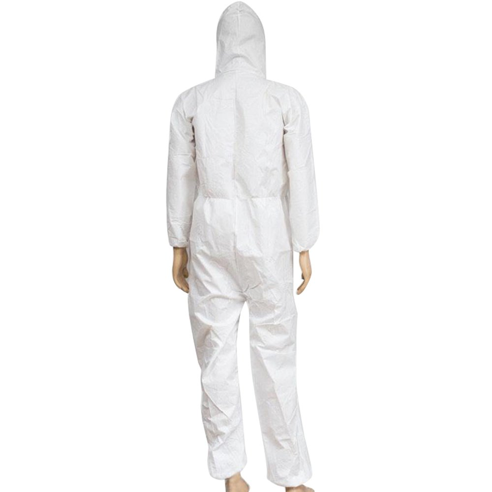 Zinnor Disposable Hooded Coveralls Chemical Protective Suits, Elastic Cuffs, Front Zipper Closure ,Serged Seams for Spray Painting Surgical Industrial (Large, White) by Zinnor (Image #3)