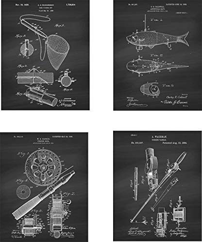 Fishing Patent Wall Art Prints – set of Four (8×10) Unframed – wall art decor for fishing fans