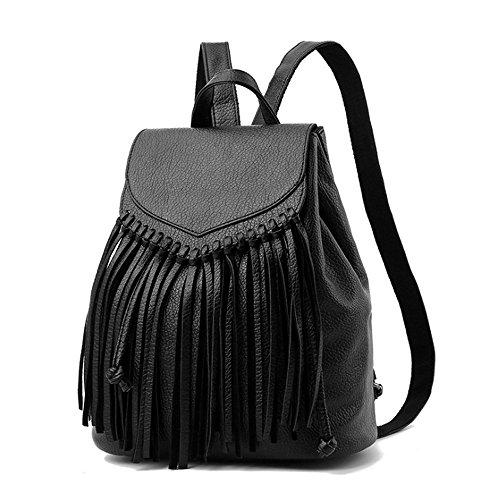 (JVP 1032-B) mochila de cuero de la PU todos los 2 colores de gran capacidad bolsa de viaje de vuelta señoras de 3 vías de vuelta bolsa de hombro bolsa de flujo de marea moda popular ligero Negro 1