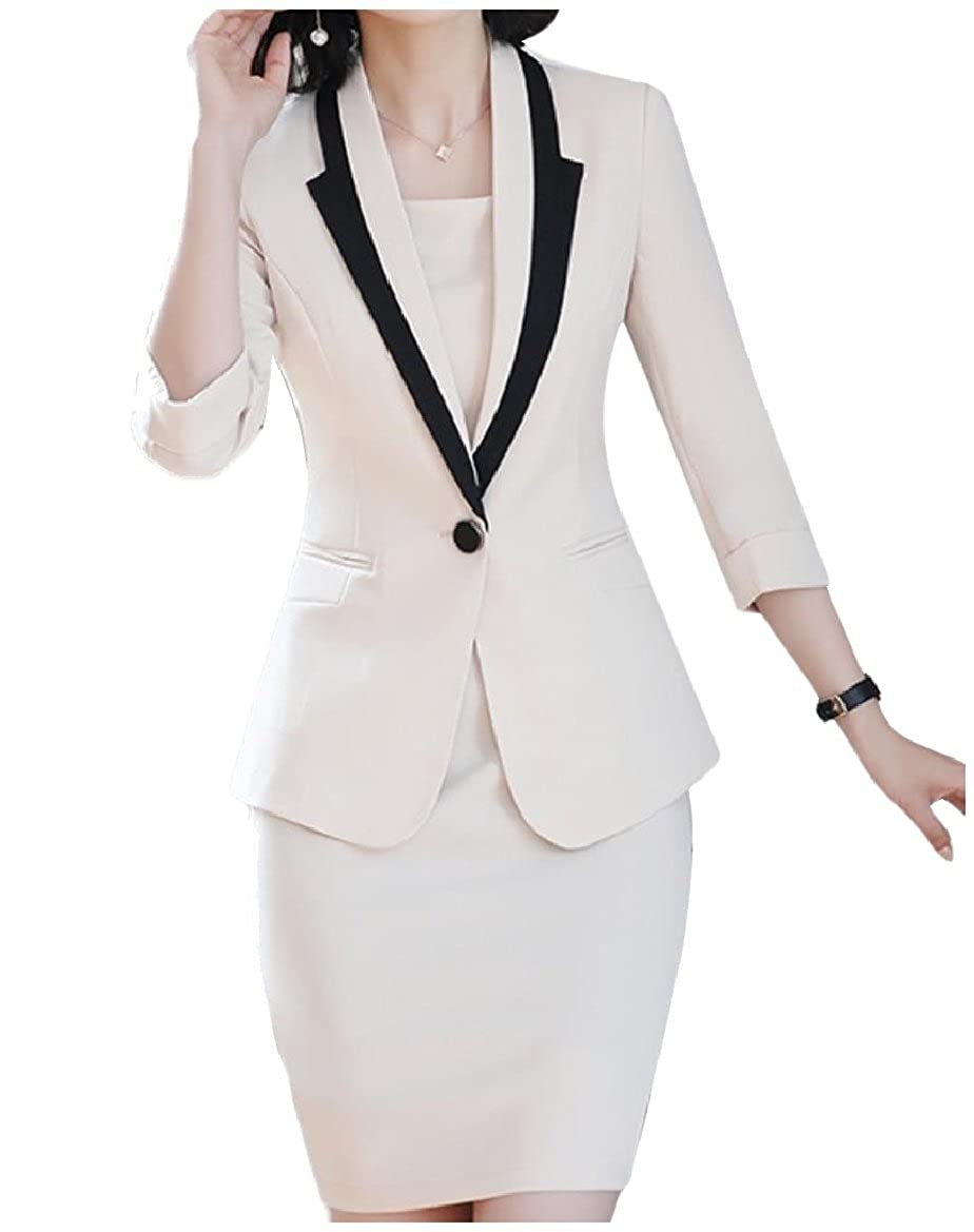 Sebaby Womens Work Office Buckle Bodysuit Lapel Blazer Dress Suit Set