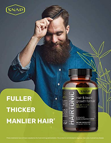 Hair Growth Supplement for Men - Hair, Skin and Nail Vitamin - Beard Growth Stop Hair Loss & Regrow Hair with Biotin, Keratin, Bamboo & More! - 60 Capsules