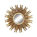 Creative Co-op Round Sunburst Mirror with with Gold Finish