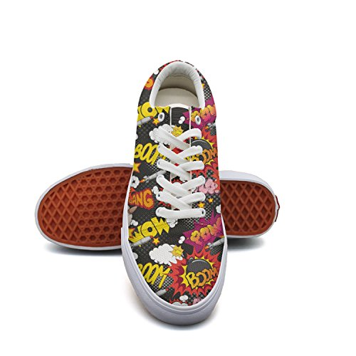 Canvas Book Hop Cloth Comic Boat Explosion Womens Women Flat Feenfling Low Top for Shoes Hip Shoes qRB5xXwXg