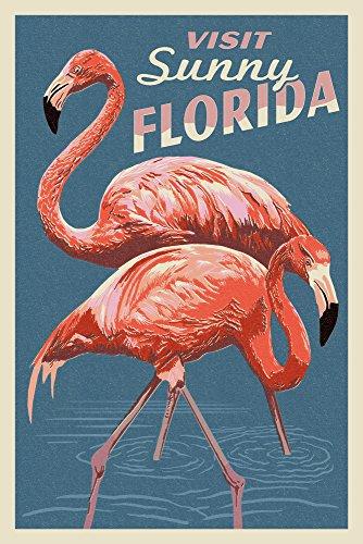 (Visit Sunny Florida - Flamingo - Letterpress (9x12 Art Print, Wall Decor Travel)
