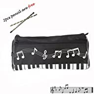Crosstree Waterproof Zipper Large capacity stationery Pen Pencil Bag for student or Business people with 2pcs free pencil gift. (Music Black)