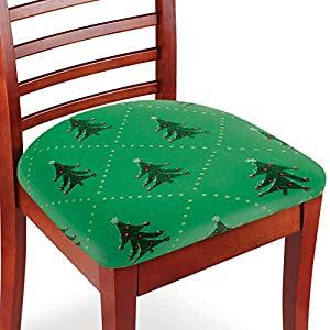 Christmas Dining Chair Seat Covers, Green