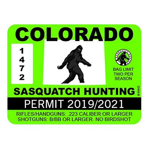 "RDW Colorado Sasquatch Hunting Permit - Color Sticker - Decal - Die Cut - Size: 4.00"" x 3.00"""