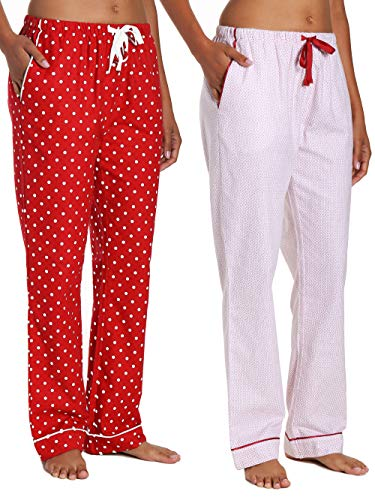 Noble Mount Women's Flannel Lounge Pants 2-Pack - Geo Mosaic-Dots Diva - ()
