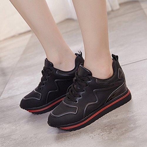 de negro Zapatos Zapatos Los Antideslizantes Los Casuales Aumentar EUR Partido 5 Zapatos Todos Cómodos Del 35 para Los Forme Respirables wza7q