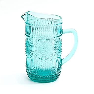 The Pioneer Woman Adeline 1.59-Liter Glass Pitcher, Turquoise