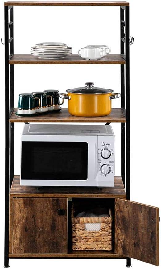 ROVSUN Upgrade Multiuse 4-Tier Metal Kitchen Bakers Rack Artisasset Microwave Storage Rack Oven Stand with Wine Storage Organizer Workstation Black 23.5 x 14 x 57