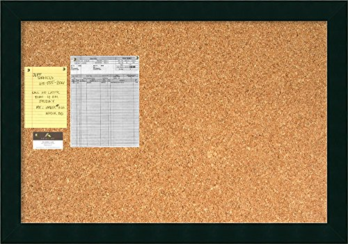 Framed Cork Board Large, Tribeca Black Wood: Outer Size 40 x 28'' by Amanti Art