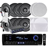 Pyle KTHSP390SVC 4 Pairs of 150W 5.25 In-Wall / In-Ceiling Stereo White Speakers w/ 300W Digital Home Stereo Receiver w/ USB/SD/AUX Input, Remote w/ 4 Channel High Power Stereo Speaker Selector & 4 Volume Controls