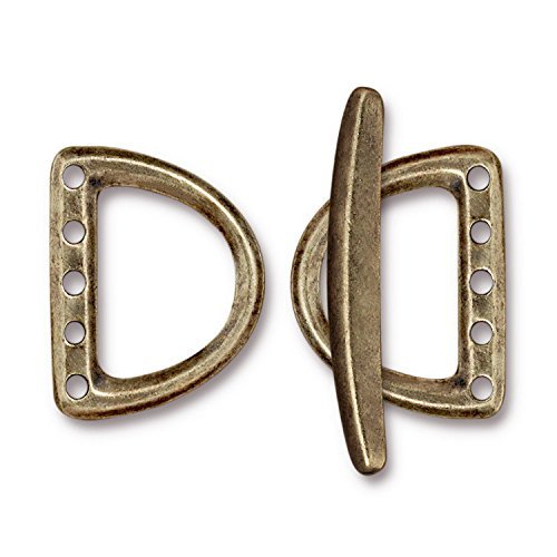 - TierraCast 5 Hole D Ring Toggle, 24mm, Antique Brass Oxide Finish Pewter, 1-Set/Pack