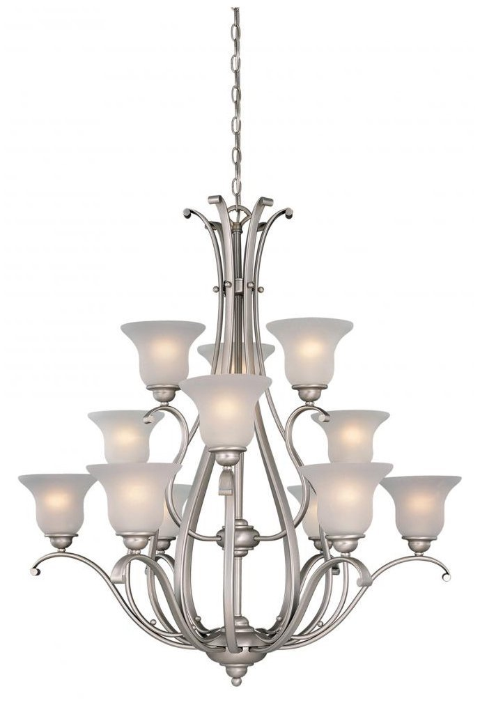 Vaxcel USA CH35412BN Monrovia 12 Light Transitional Chandelier Lighting Fixture in Nickel, Glass