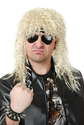 Charades Men's Heavy Metal Rocker Costume Wig, Blonde, One Size -